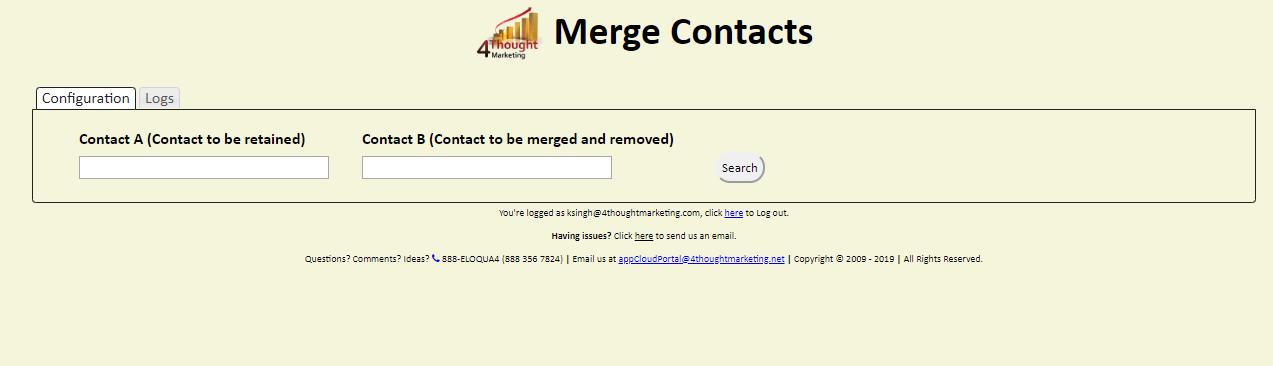 Eloqua Merge Contacts Cloud App 2