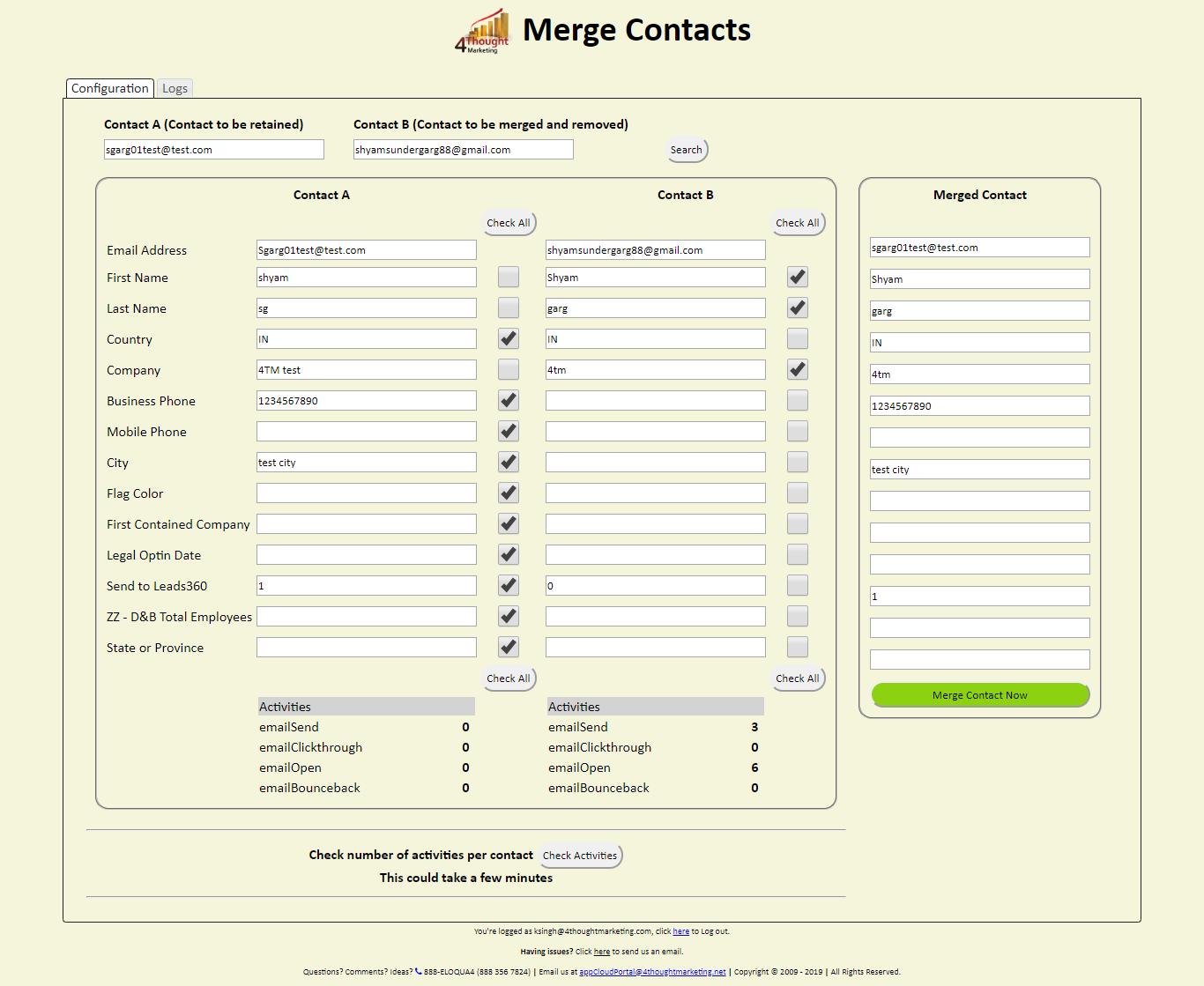 Eloqua Merge Contacts Cloud App 4