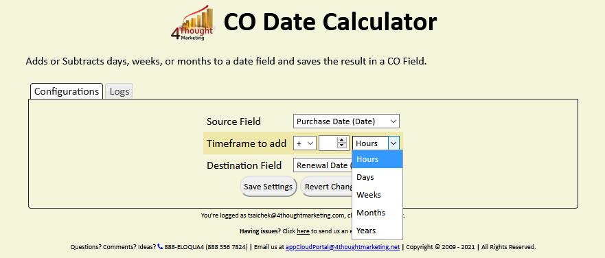 co date calculator configuration