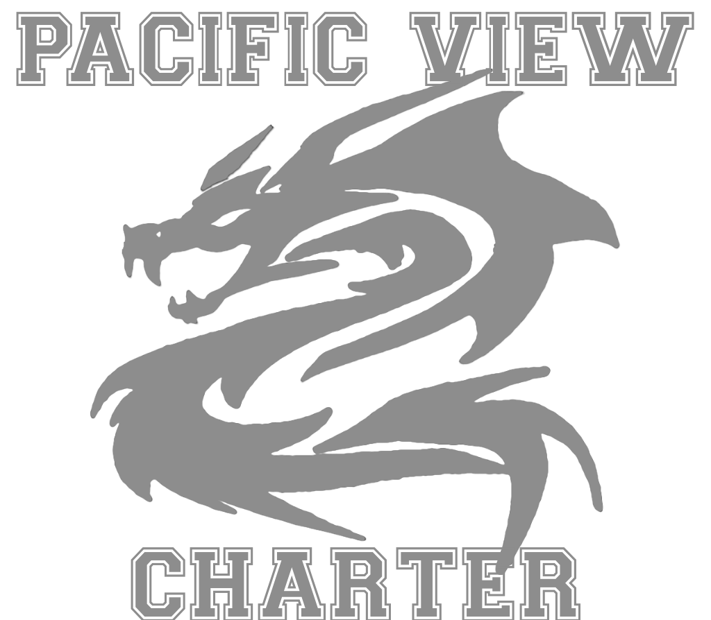 Pacific View Secondary Logo of Dragon and name