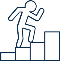 blue person walking up stairs icon