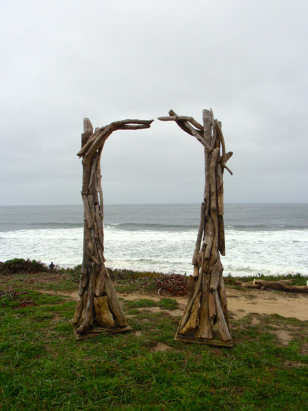 Large two piece driftwood arch