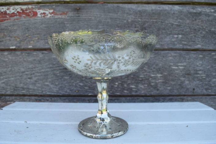 Vintage silver mercury glass compote dishes