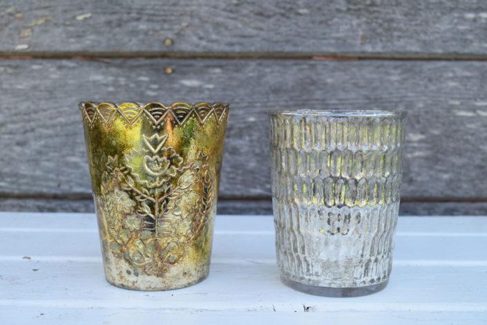 Small mercury glass votives or vases