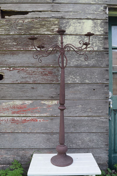 Rustic wrought iron tall candelabras