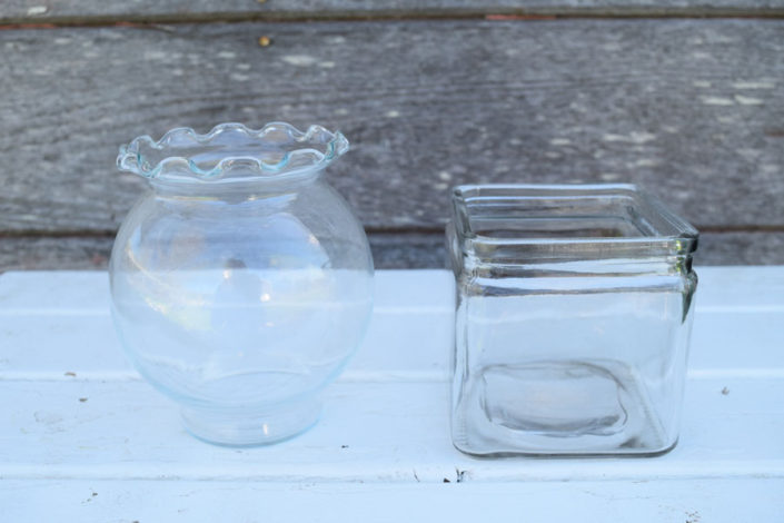 Small glass ivy bowls and utility glass cubes