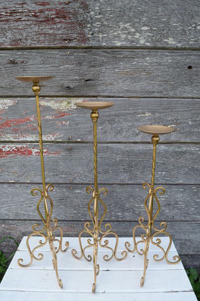 Gold pillar candle holder trios