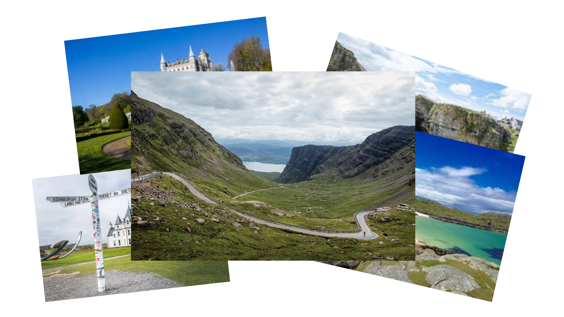 Collage of North Coast 500 attractions in Scotland
