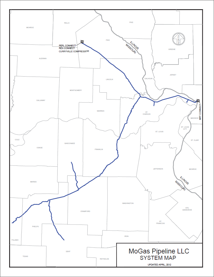 MoGas Pipe stretches nearly 300 miles from Pike County, MO to Illinois to Ft. Leonard Wood.