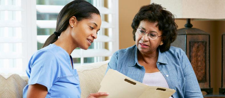 elderly woman and nurse