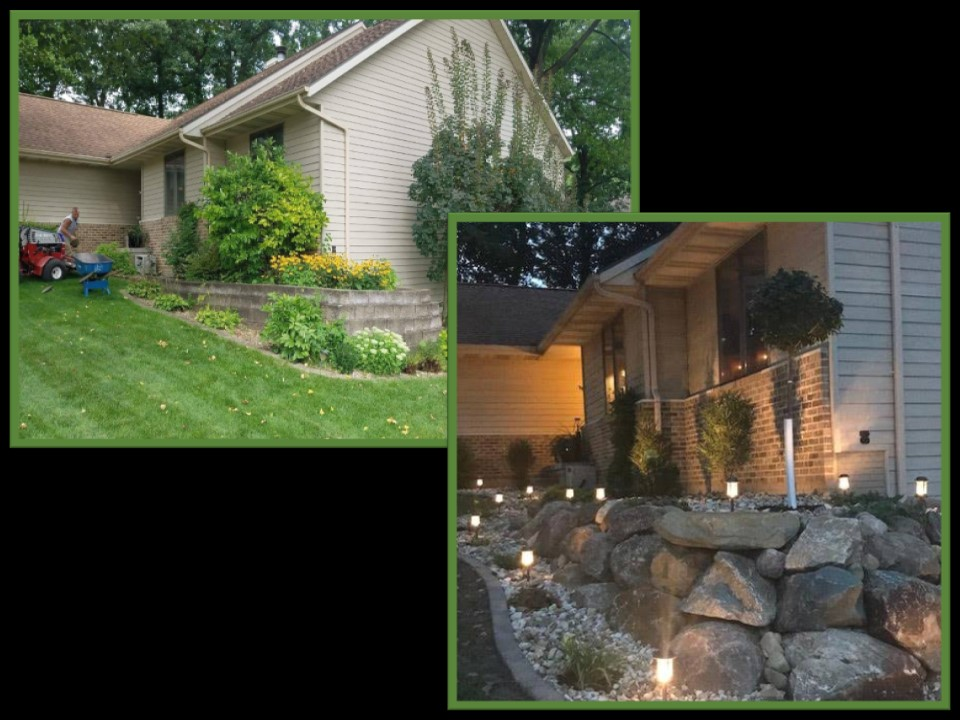 Before & After with Lighting & Boulder Wall