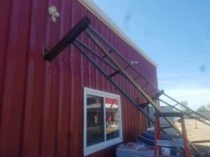 Shade structure impaled in Warehouse