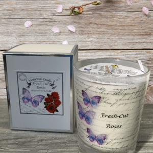 fresh cut roses scented candle