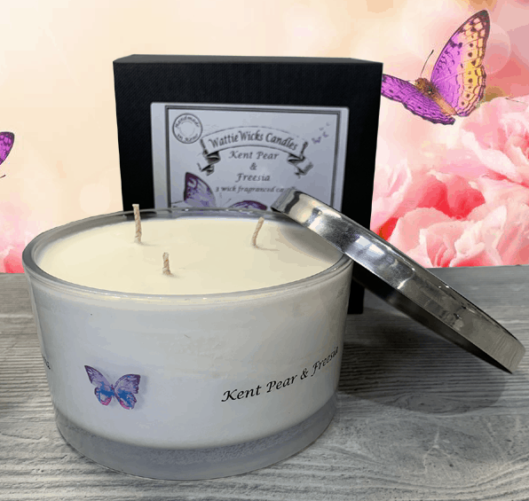 kent pear and freesia 3 wick candle