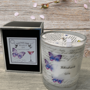 rhubarb gin scented candle