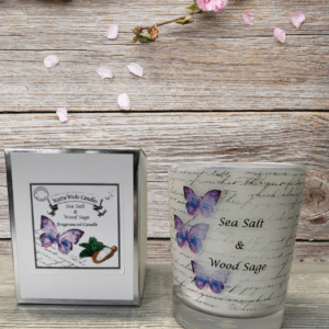 Sea salt and wood sage scented candle