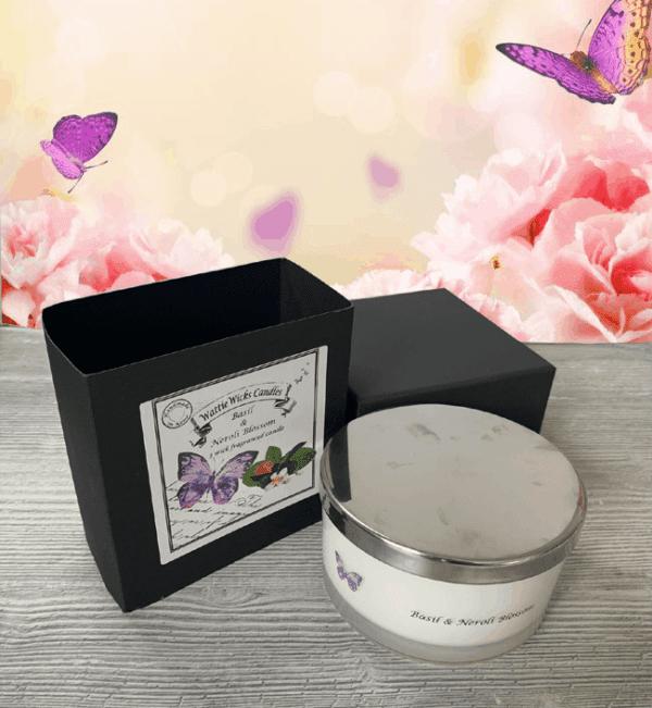 basil and neroli blossom 3 wick candle and box