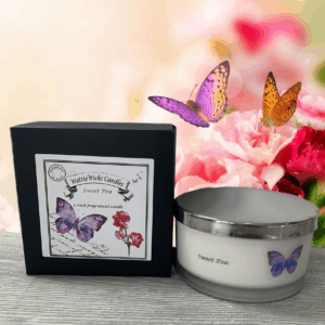 sweet pea 3 wick box and candle