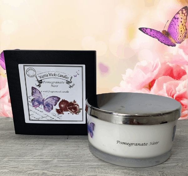 pomegranate noir 3 wick candle and box