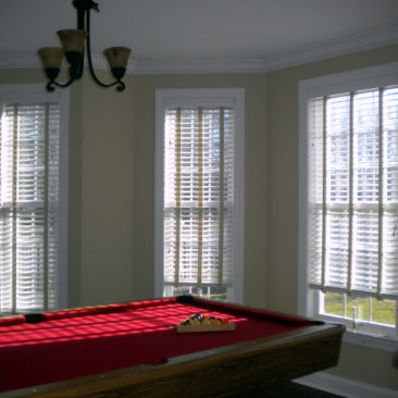 photo of Wood Blinds with Decorative Tapes pool room