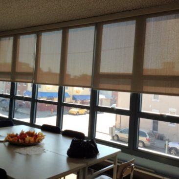 roller shades for Thomas Johnson Elementary teachers lounge