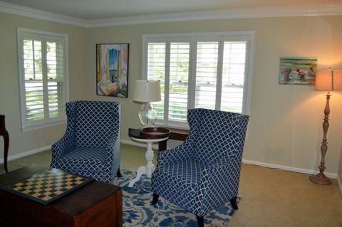 White Plantation Shutters Living Room Severna Park, MD