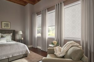Roller Shades Layered with Drapery Panels