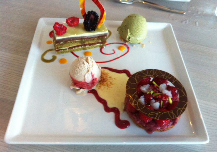 A beautifully plated dessert at Vancouver's waterfront Miku restaurant.