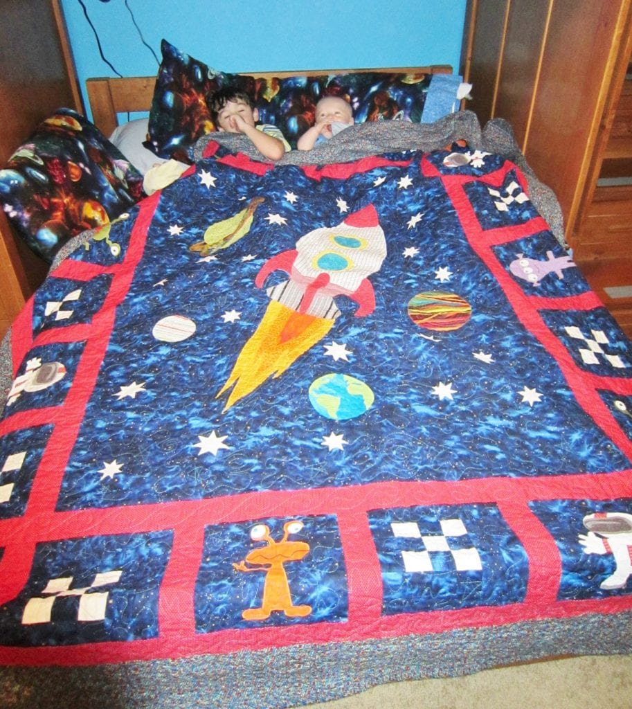 outer space theme full size quilt