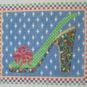 merry & bright needlepoint shoe canvas