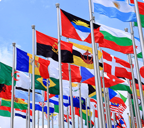 International flags representing global moving