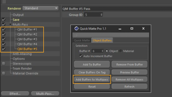 Image with multipass buffers added to the Cinema 4D render settings