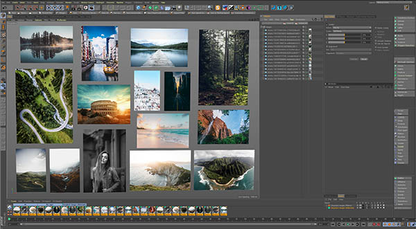 Cinema 4D Viewport Photo Collage featuring various landscape and scenic images