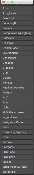 Cinema 4D interface menu with a list of viewport filter display objects