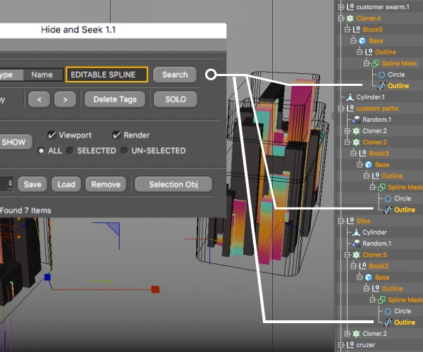 Cinema 4D Hide and Seek Plugin Object Search Example