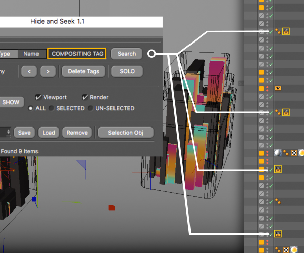 Cinema 4D Hide and seek plugin Tag Search Example