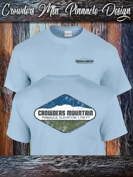 Crowders Mountain Pinnacle shirt on light blue Alternative Apparel.