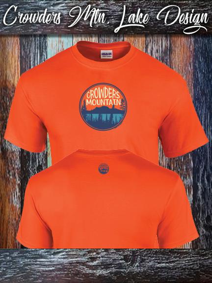 Crowders Mountain Lake design on a Gildan 100% cotton orange shirt.