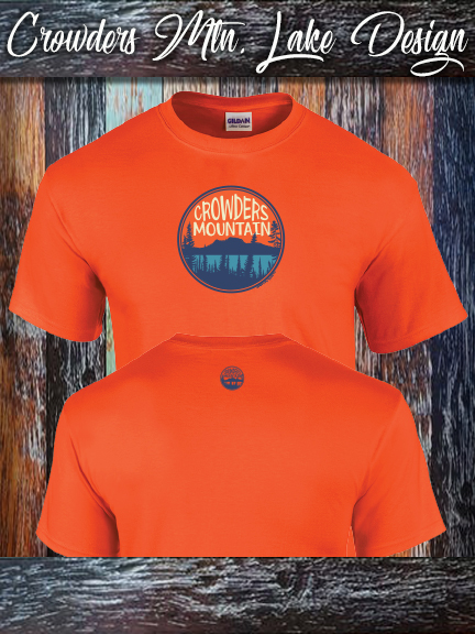 Crowders Mountain Lake design on a Gildan 100% cotton orange shirt.