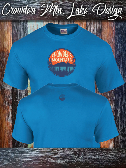 Crowders Mountain Lake design on a Gildan 100% cotton sapphhire shirt.