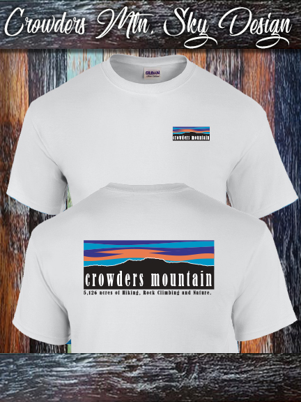 Crowders Mountain Sky shirt printed on a 100% cotton Gildan white.