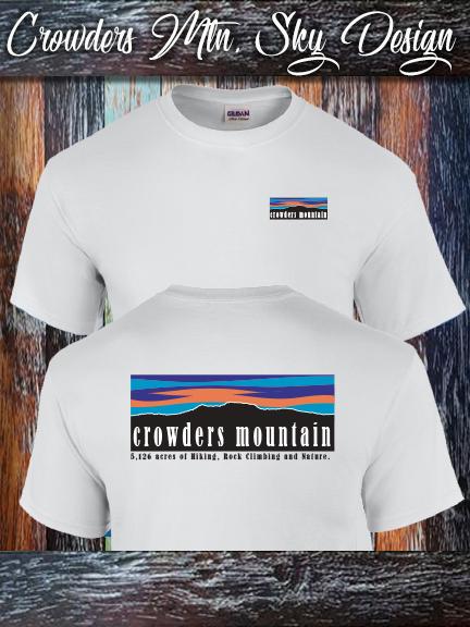 Crowders Mountain Sky shirt printed on a 100% cotton Gildan white.