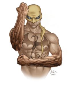 """IRON FIST Debut: 1974 Poderes: Peleador con antiguos poderes CHI """"Llamo a la persona a mi cabeza, seguía regresando al muy bien definido y compacto cuerpo arte marcialista y no abultado de Bruce Lee"""" --Russell Dauterman (artista)"""