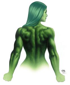 """Debut: 1908 Poderes: Fuerza, agilidad y velocidad sobrehumana """"Ella es un personaje de Fuerza, por eso mantuve sus hombros rectos, presentando su pecho, mostrando una presencia comandante"""" -Frank Cho (artista)"""