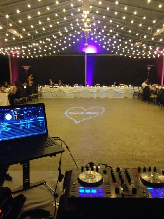 monogram wedding lighting