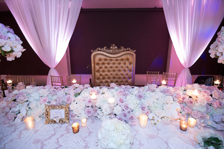 head table wedding flowers