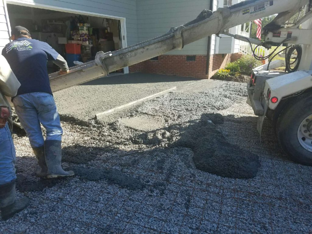Driveway pour in process