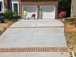 New driveway with paver inlays