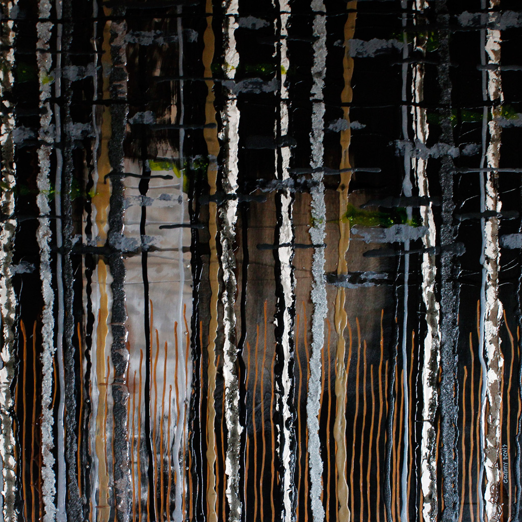 Strong Texture, Trees, Forest, Black and Grey, Modern