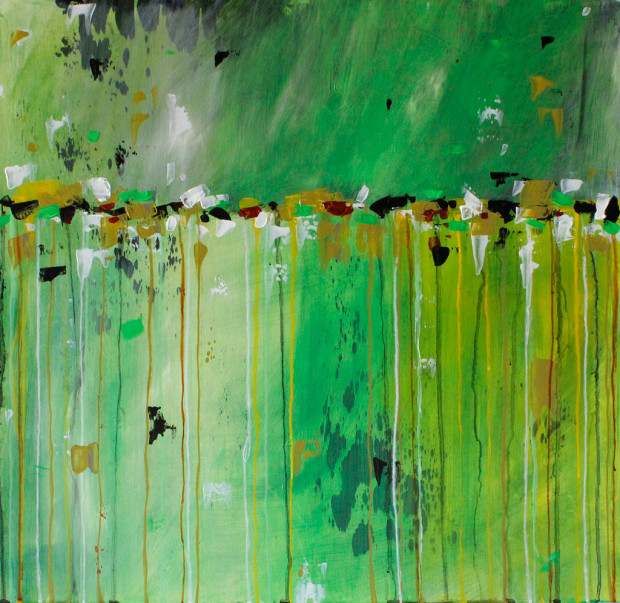 Green, Yellow, Loose Brushstrokes, Dripping Paint, Landscape, Abstract